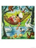Feeding Ducks from a Hammock Giclee Print