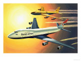 Boeing 747 with Boeing 707 in Background Giclee Print by Wilf Hardy