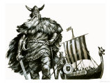 Viking and Longship Giclee Print