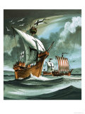 Trading Ships with Teutonic Knights Aboard Closing in on a Pirate Vessal Giclee Print by Dan Escott