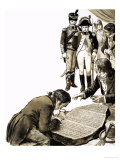 Napoleon Brought in Scholars to Solve the Secrets of the Ancient Languages of the Rosetta Stone Giclee Print by C.l. Doughty