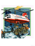 Chinook Helicopter Transporter Arrives at an Oil Rig in the North Sea Giclee Print by Wilf Hardy