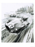 D-Type Jaguar at the 1954 Le Mans Giclee Print by Graham Coton