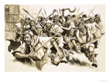 Unidentified Mob on the Attack Giclee Print by Ron Embleton