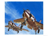 Into the Blue: Birdstrike! Two Schimitar Interceptors Taking Off Giclee Print by Wilf Hardy