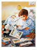 Young Boy Reading Story Books Giclee Print