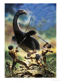 Unidentified Prehistoric Creature Attacked by Cavemen Giclee Print by Oliver Frey