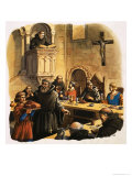 Novices Serving Meals in Refectory Giclee Print by Michael Godfrey