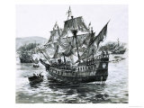 Drake's Ship, the Golden Hind, Limps Back to Portsmouth Carrying Immense Riches Giclee Print by Graham Coton