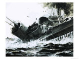 China Seas in 1930, 2,000 Ton Steamer Yuta Slammed Into the Side of the Submarine Poseidon Giclee Print by Graham Coton