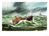 The 15 Metre Rnli Oakley Lifeoat on Its Way to a Ship in Difficulty Giclee Print by Wilf Hardy