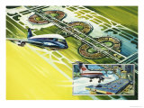 Hawker-Siddeley 141 Approaching Dallas Airport Giclee Print by Gerry Wood