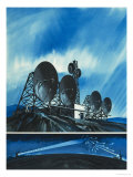 Science Survey: Radio Links Around the World Giclee Print by Wilf Hardy