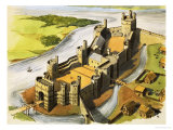 Caernarvon Castle in the Time of King Edward the First Giclee Print by Michael Godfrey