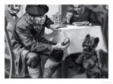 Unidentified Restaurant Scene of Man Eating Soup and Another Feeding Dog Giclee Print by Paul Rainer