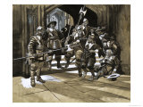 Unidentified Men Being Thrown Out of a Building by Guards Giclee Print by Ron Embleton