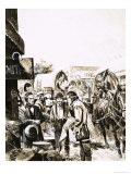 Mormon Settlers Prepare to Trek Across America Reproduction procédé giclée par Gerry Wood