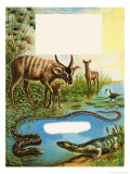 Sitatunga, Jacana Bird, Monitor Lizard and Python Giclee Print by Leslie Field Marchant