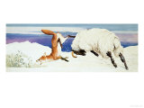 Black-Faced Ewe Attacks a Fox Giclee Print by Kenneth Lilly