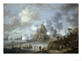 Mediterranean Castle under Siege from the Turks Giclee Print by Jan Peeters