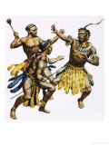 Zulu Chief Shaka Being Attacked Giclee Print by James Edwin Mcconnell