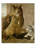 Eagle Owl and Cat with Dead Rats Giclee Print by Johann Heinrich Roos