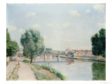 The Railway Bridge, Pontoise Giclee Print by Camille Pissarro