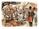Unidentified African Village Scene with Doctor Treating Native Giclee Print by Tom Laidler