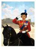 Queen Elizabeth II Trooping the Colour Giclee Print by Clive Uptton