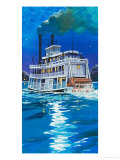 Paddleboat on the Mississippi River Giclee Print by Angus Mcbride