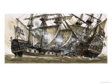 Captain Maynard's Sloop Bore Down on the Pirate Ship Giclee Print by Clive Uptton