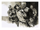Lieutenant-Colonel Geoffrey Keyes Grapples with a German Guard Giclee Print by Neville Dear