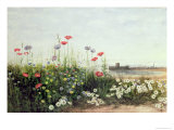 Bank of Summer Flowers Giclee Print by Andrew Nicholl