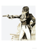 Edwardian Gentleman Duelling with a Pistol Giclee Print by Richard Hook