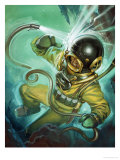 Air Hose Snaps Loose from a Diver's Suit Giclee Print by Angus Mcbride