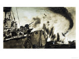 Lightship's Guns Damage a German Bomber Enough to Cause It to Crash Giclee Print by Neville Dear