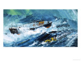 Lifeboat Rescuing a Man in the Sea Giclee Print by Graham Coton