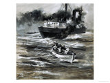 The Tramp Steamer Hms Farnborough Was Sunk by a German U-Boat Giclee Print by Graham Coton