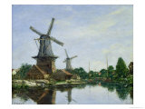 Dutch Windmills, 1884 Impression giclée par Eugène Boudin