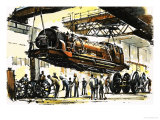 Beyer-Garratt Boiler Section Lifted Clear of the Two End Units During an Overhaul Giclee Print by John S. Smith