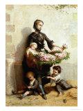 Victorian Flower Seller Giclee Print by Leopold De Moulignon