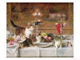 Kittens at a Banquet Giclee Print by Louis Eugene Lambert