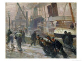 Liverpool Dockers at Dawn, 1903 Giclee Print by Victor Francois Tardieu