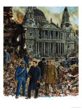 King George VI Inspects the Wreckage Outside St Paul's Cathedral Giclee Print by Clive Uptton