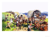 Unidentified Wagon Train Scene Giclee Print by Harry Green