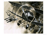 Unidentified Dog Fight Between British Biplanes and a German Triplane Giclee Print by Wilf Hardy