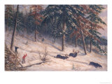 Hunting Moose Giclee Print by Cornelius Krieghoff