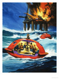 Unidentified Liferaft Escaping Explosion on Oil Rig Giclee Print by Wilf Hardy