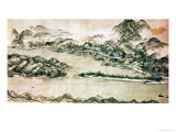 Landscape of Mountains and a River in Cursive Style Reproduction procédé giclée par Toya Sesshu