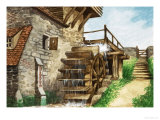 Old Water Mill by a Stream Giclee Print by Peter Jackson